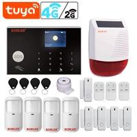 Tuya Smart WIFI 2G/ 4G 3G GSM Home Security Alarm System Einbrecher Kit Drahtlose Verdrahtete Mit google Alexa IP Kamera Haus Schutz