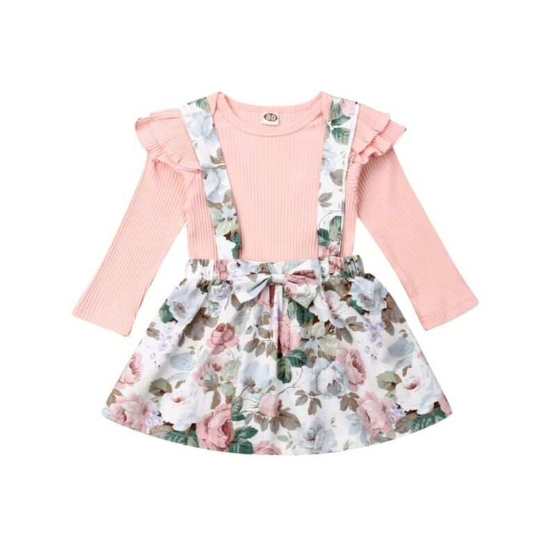 Ruffle Strap Suspender Dress Fall//Winter Outfits Clothes 1-5T Toddler Baby Girl Skirts Sets Cotton Linen Top