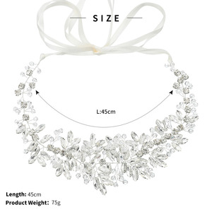 Image 3 - Bridal Satin Belts Crystal Beads Silver Color Wedding Accessories Decoration Prom Dress Belt Ivory White Strass Bride Sash Gifts