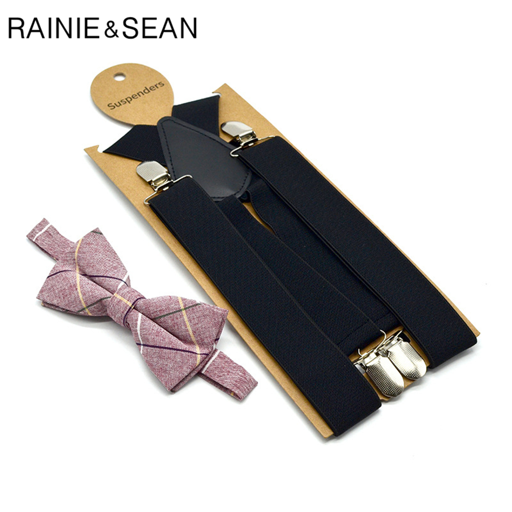 RAINIE SEAN Mens Black Suspenders Braces Wedding Black Suspenders For Men X Back 4clips Adult Dress Suspensorio 120cm*3.5cm