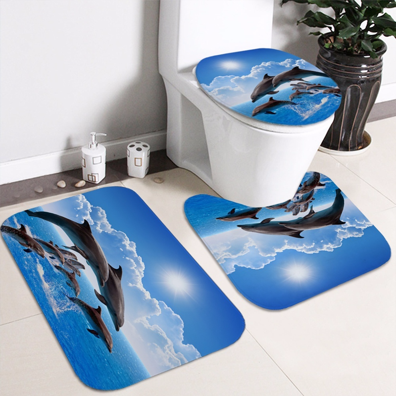 Ocean Design Dolphin 4 In 1 Waterproof Fabric Bathroom 3D Shower Curtain Set with Non Slip Toilet Cover Rugs Mat Home Decoration 4