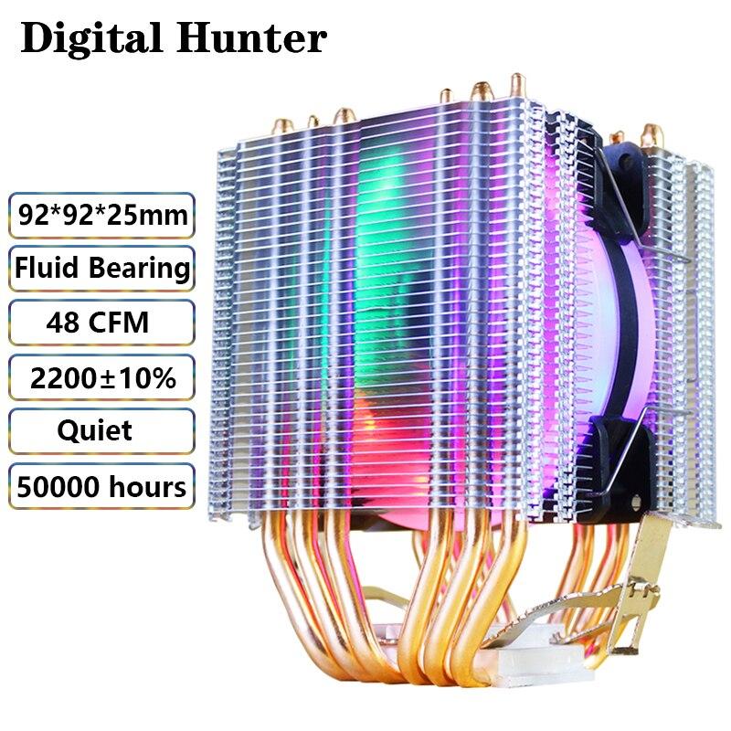 Ventilador de refrigeración de CPU Hunter Digital, 6 tubos de calor de 90mm, 1/2/3 ventiladores, 4 pines, pwm, 5 colores para procesador Universal Intel AMD ryzen X79 X99 b450m