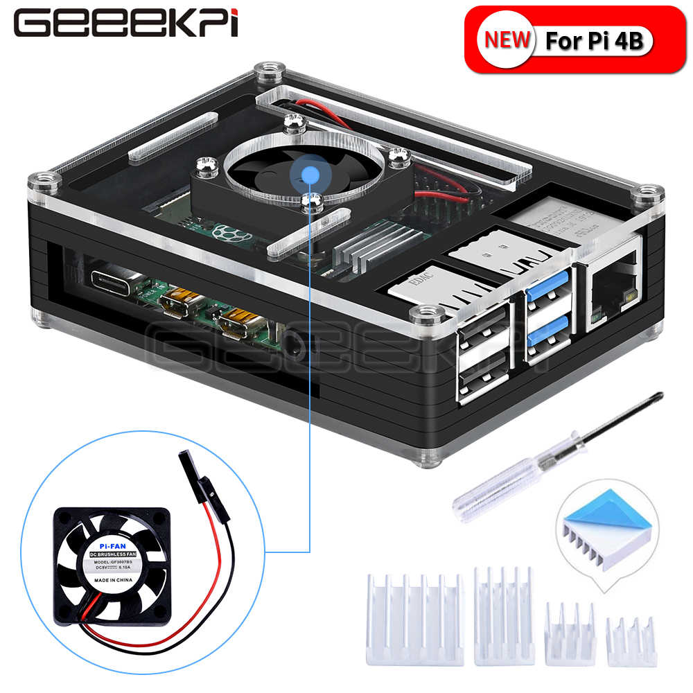 GeeekPi Acrylic Plastic Black Case with cooling fan for Rasberry Pi 4B (4 Model B) (Not Include)