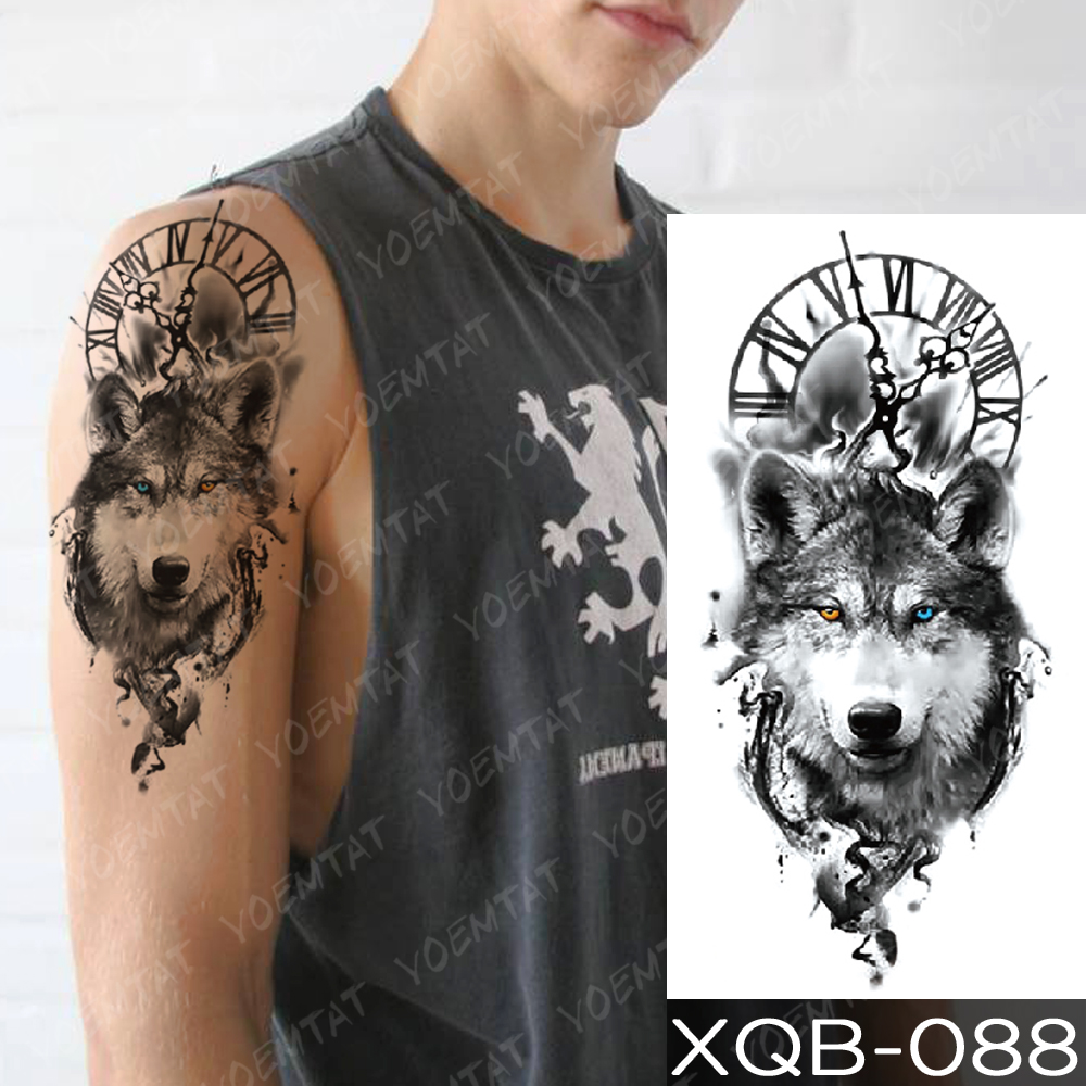 Waterproof Temporary Tattoo Sticker Clock Orange Blue Eyes Wolf Flash Tattoos Lion Compass Body Art Arm Fake Tatoo Women Men 1