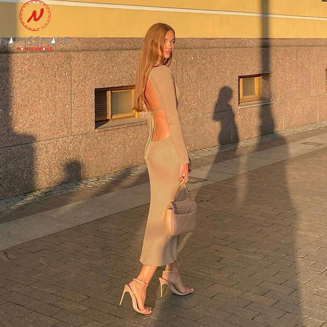 Sexy Women Solid Color Pencil Dress Hollow Out Bandage Design High Collar Long Sleeve Mid Waist Backless Slim Hips Long Dress 2