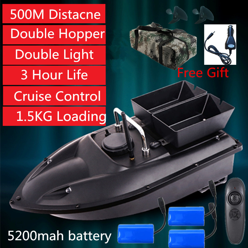 New High Quality Double Hopper Double Motor Fixed Speed Cruise Automatic Feed  Fishing Bait Boat With Waterproof Bag Car Charger