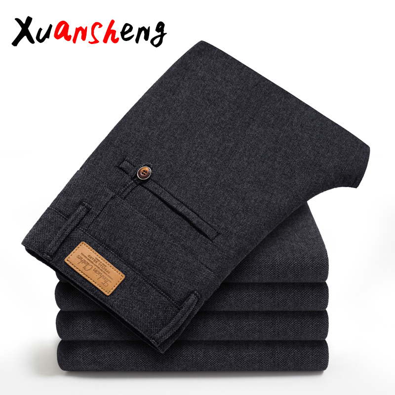 2019 Autumn Winter New Men's Slim Casual Pants Fashion Business Stretch Thicken Trousers Male Brand Plaid Pant Black Blue Pants