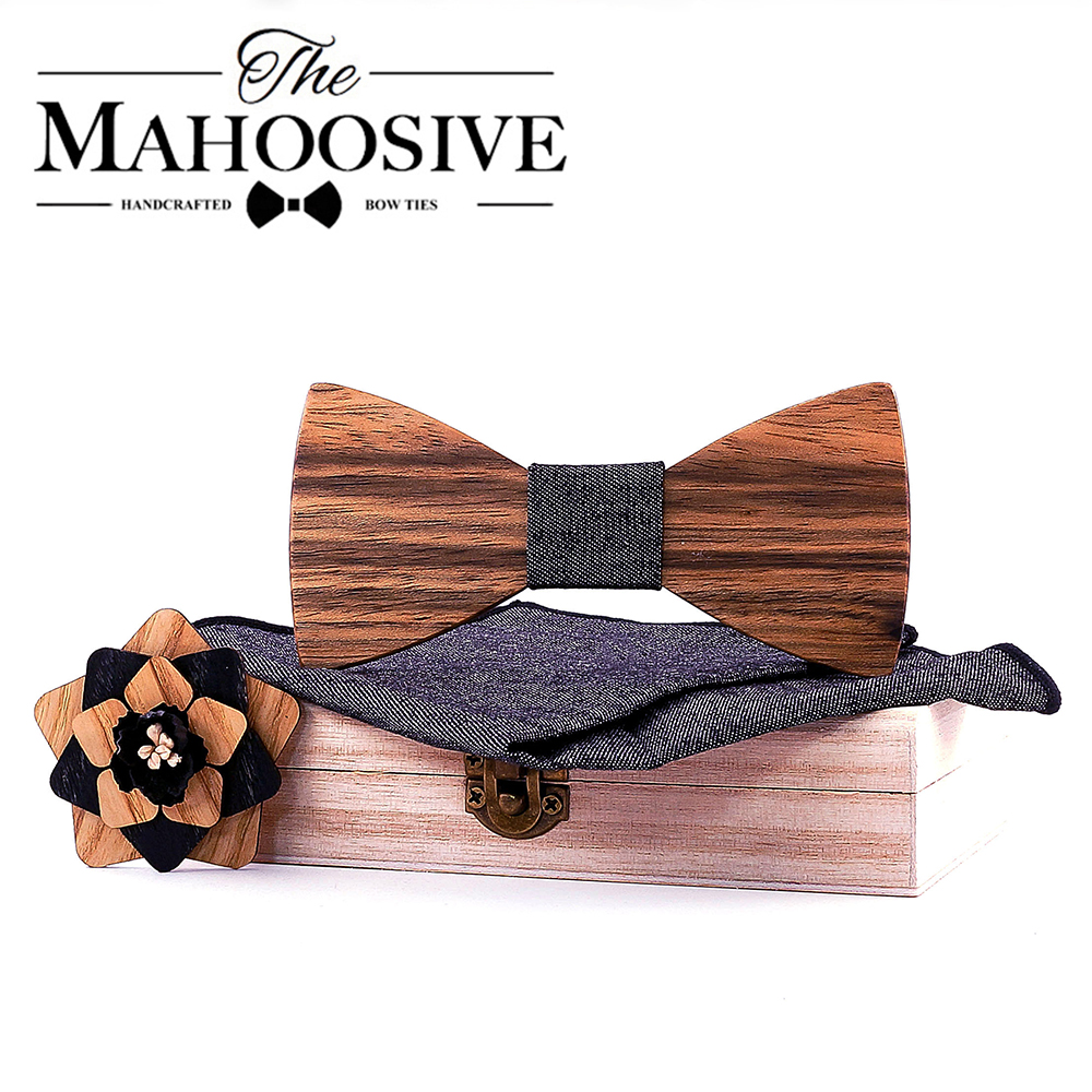 Wood Original Design Natural Wooden Bow Tie Exquisite Handmade Mens BowTie Brooch Pin Wooden Gift Box Set For Wedding