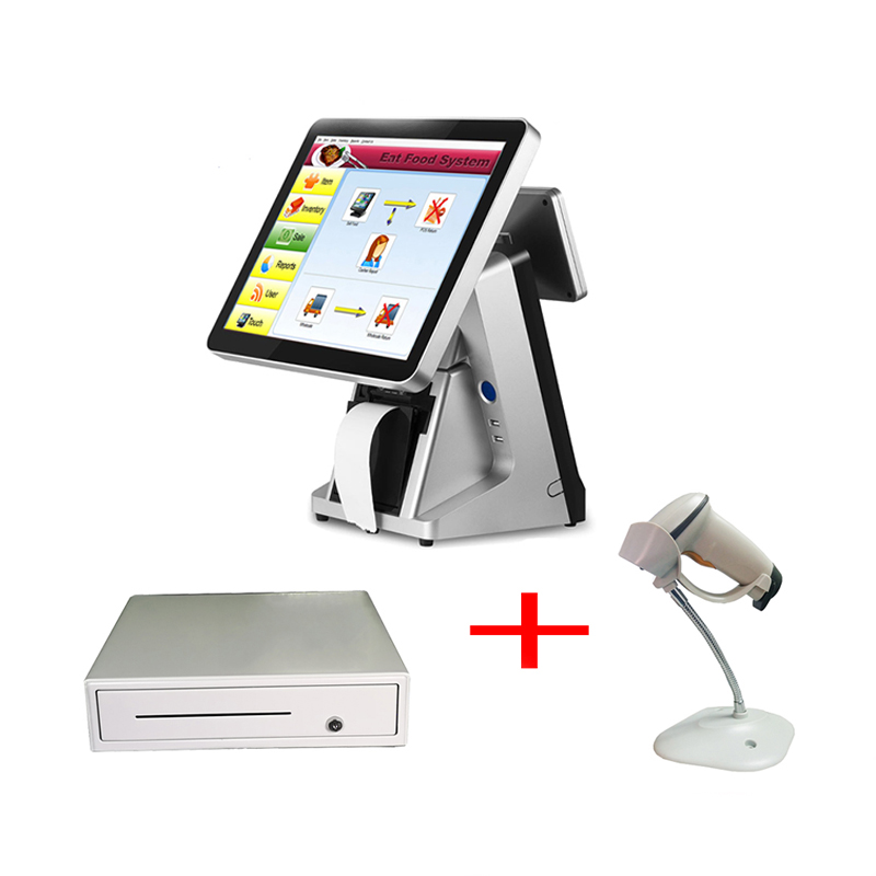 Windows supermarket <font><b>cashier</b></font> <font><b>machine</b></font> 15 inch point of sale touch screen possystems with customer display image