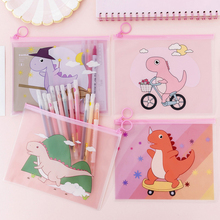 1 Pcs Creative Cartoon Dinosaur Storage Bag Transparent Ring File Cute Pink Student Stationery Pen Office School Supply