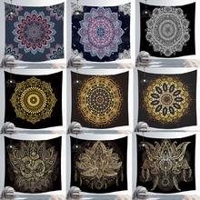 สีดำแขวนผนังTapestriesอินเดียMandala Tapestry Hippie Chakra Tapestry Boho Decorผนังผ้าโยคะเสื่อBohemianผ้า