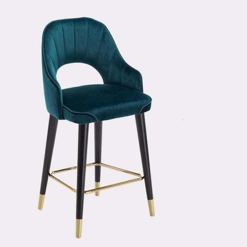 Light Luxury Italian Bar Chair American Country High Chair Northern Europe Bar Chair Fashion Modern Household Solid Wood High Ch