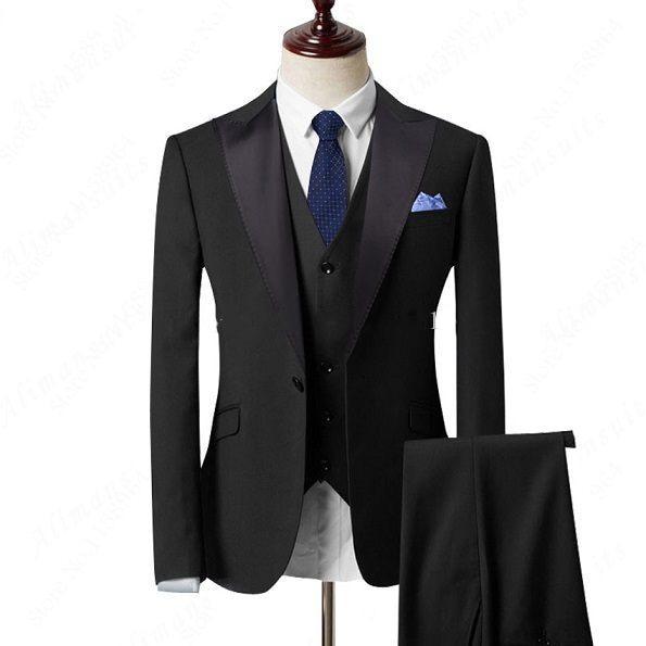 2019 New Three Piece Blue Evening Party Men Suits Peak Lapel Slim Fit Custom Made Wedding Tuxedos (Jacket + Pants + Vest+Tie)