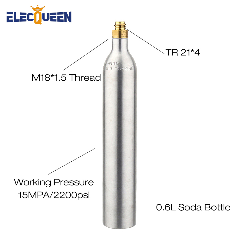 0.6L Soda Cylinder Co2 Bottle Tank,150BAR/2200PSI High Pressure Soda Water Bottle Aluminium Co2 Cylinder With Valve TR21*4