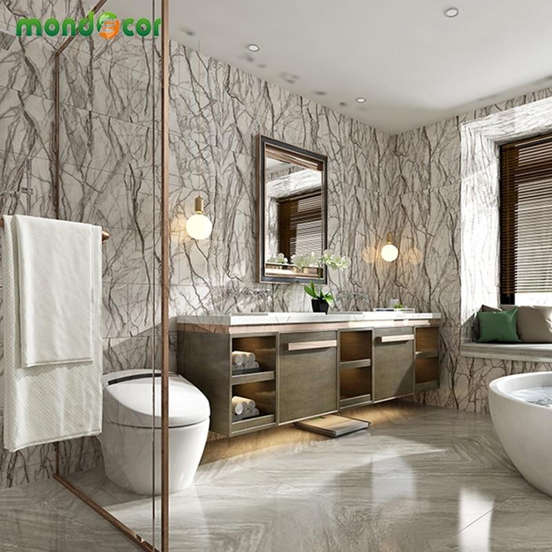Retro Self Adhesive PVC Floor Wallpaper Fashion Marble Pattern Bathroom Floor Stickers DIY Bedroom Ground Mural Room Decor Film