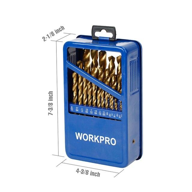 WORKPRO 29 피스 티타늄 드릴 비트 세트 금속 케이스
