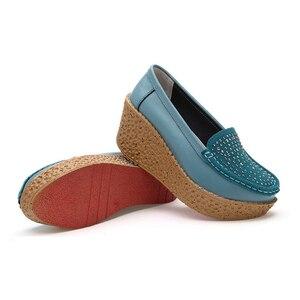 Image 4 - Beyarne outono sapatos femininos de couro de camurça leve sapatos casuais mocassins sola grossa aumento cunha sapatos de balanço zapatos