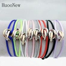 Bracelet unisexe en acier inoxydable, 3 boucles en métal, chaîne multicolore, taille réglable, pour femmes et hommes, nouvelle collection