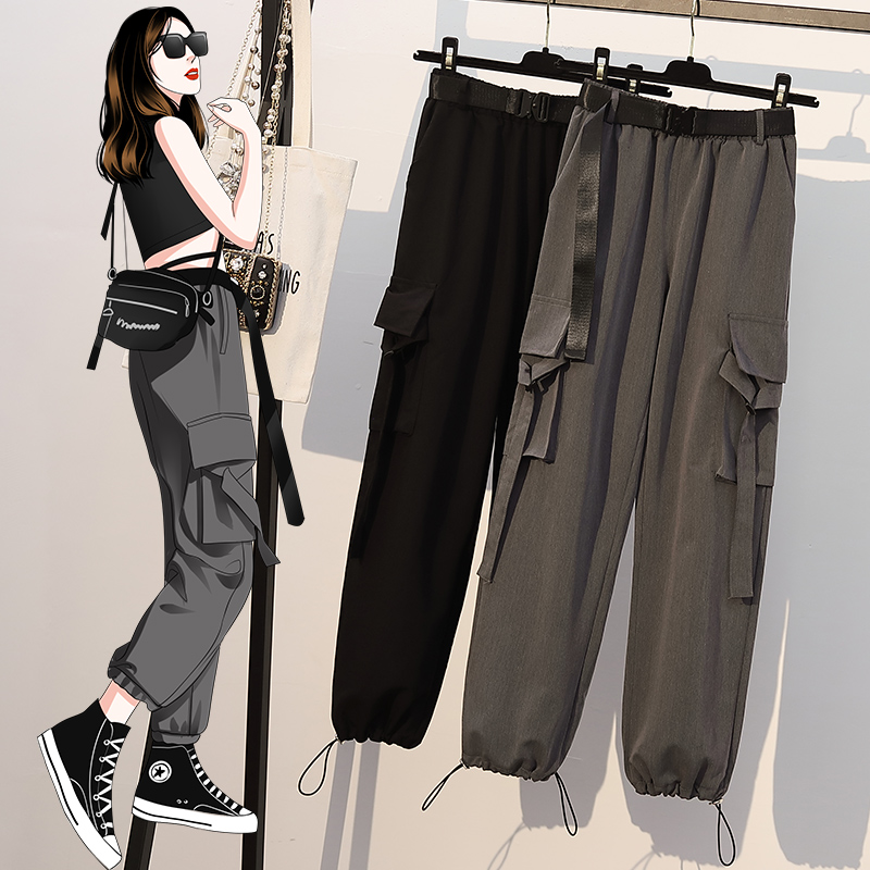 2020 Autumn Summer Casual Pants Capri-Pants Jeans for Woman Goth Dark Oversized Trousers