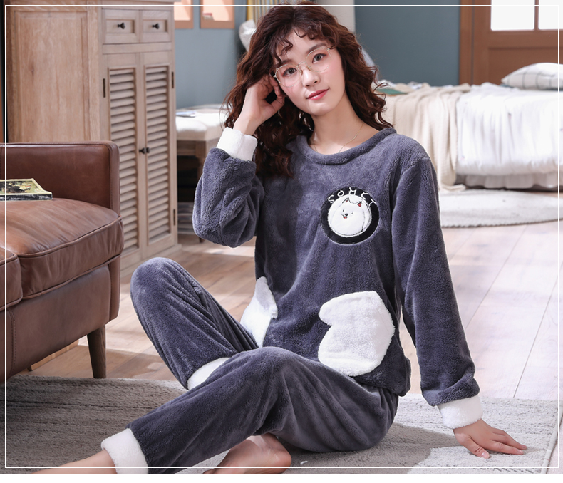 Long Sleeve Warm Flannel Pajamas Winter Women Pajama Sets Print Thicken Sleepwear Pyjamas Plus Size 3XL 4XL 5XL 85kg Nightwear 327
