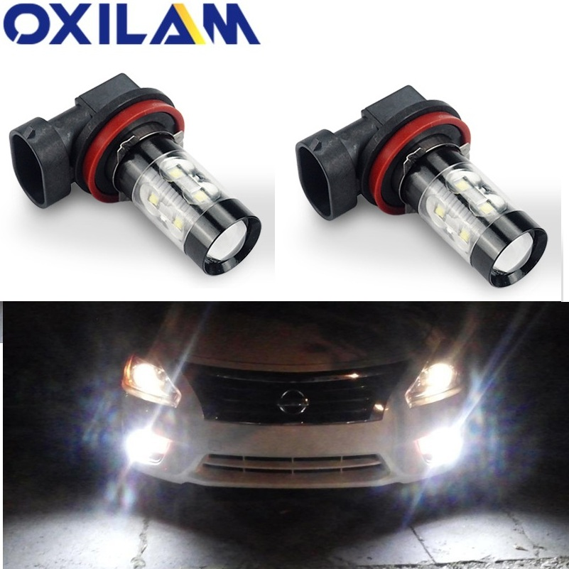OXILAM 2x Canbus H9 H8 H11 LED Nebel Licht Lampe Für BMW E46 E90 E60 E39 E87 X5 E53 E70 e36 X3 E83 E34 E92 E38 F30 F10 Auto <font><b>DRL</b></font> Lampe image