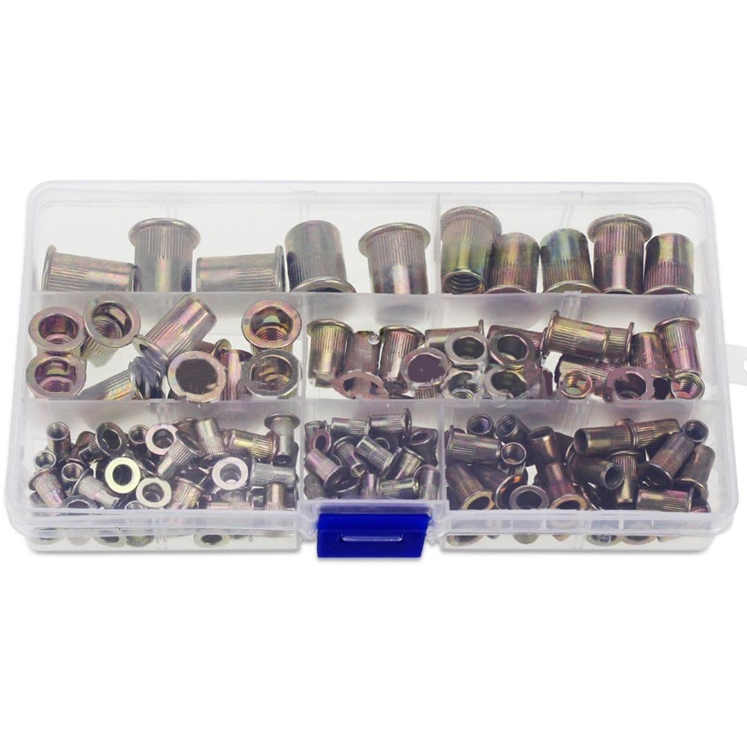150pcs/box M3 M4 M5 M6 M8 M10 Multi Size Zinc Plated Steel Rivet Nuts Flat Head Fastener Set Nutsert Insert Riveting DIY