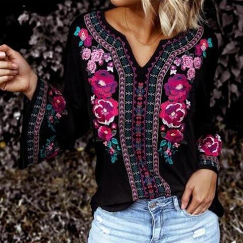 Осенняя винтажная рубашка с расклешенными рукавами, имитация цветочного принта, тонкая футболка, топы, футболки с длинным рукавом