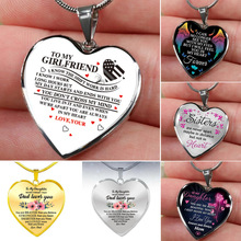 To My Daughter Love Heart Necklace Pendant Chain Necklaces for My Daughter My Girlfriend Women Girls Jewelry Family Gifts