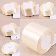 Ruban en Satin de soie ivoire, 25 Yards/rouleau, 6mm-50mm de largeur, ruban en tissu solide bricolage de bal, papier-cadeau décoratif