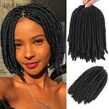 Spring Twist Hair 8Inch Fluffy Crochet Braids Synthetic Hair Extensions Braids Kinky Curly Twists 15strands/pc For Women Riversa