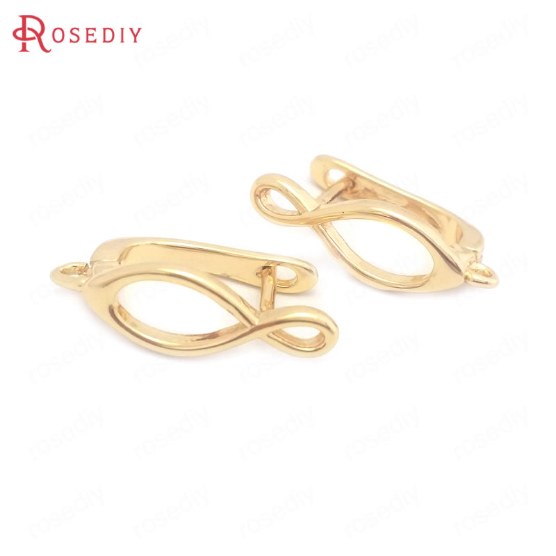 (38432)6PCS Height 19.5MM 24K Gold Color Brass Stud Earrings Pins Earrings Clasps High Quality Jewelry Making Supplies Findings