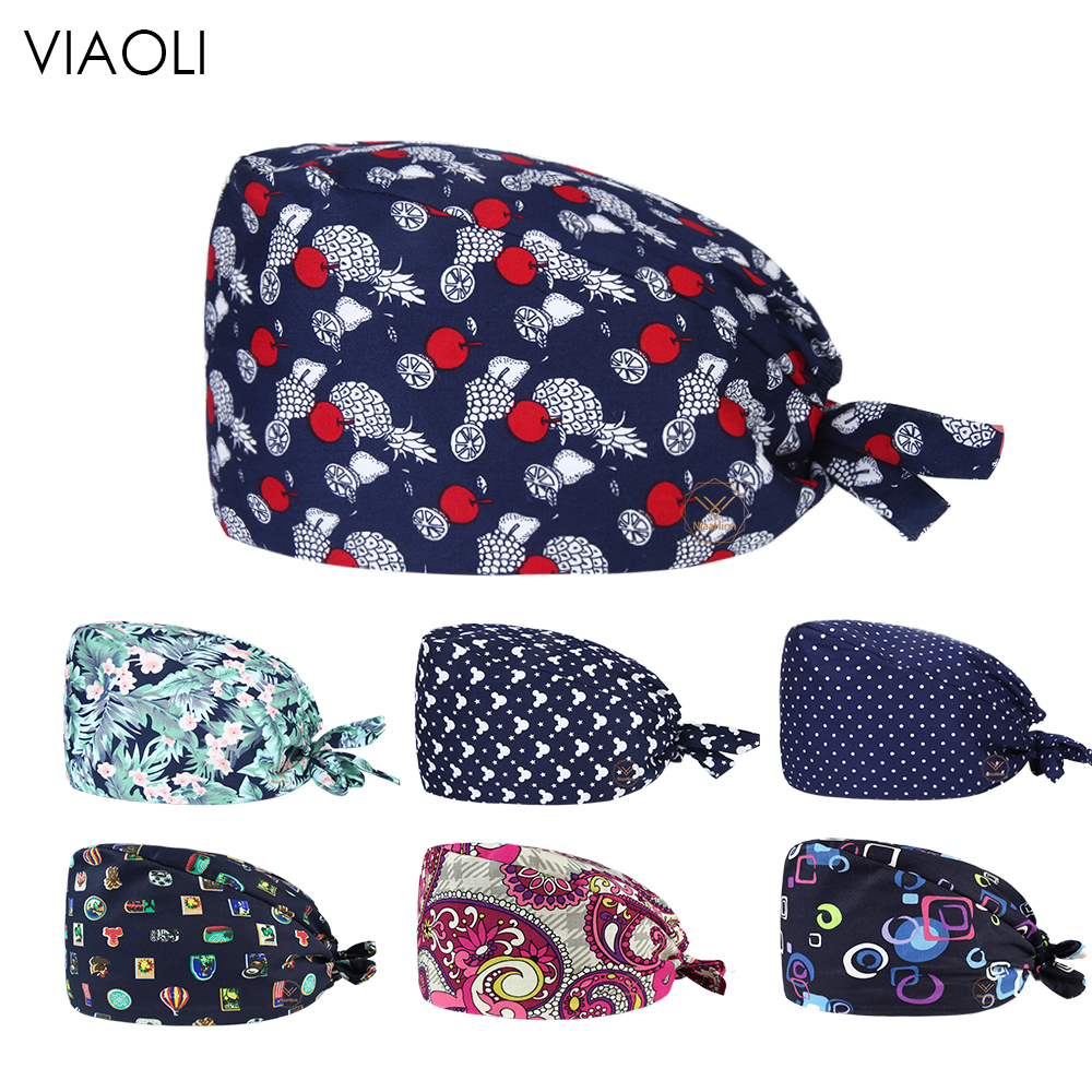 Viaoli Surgical Caps Women And Men Work Hat Medical Doctor Nurse Cap Animal Printing Beauty Salon Cap Scrub Hat Lab Clinic Hat