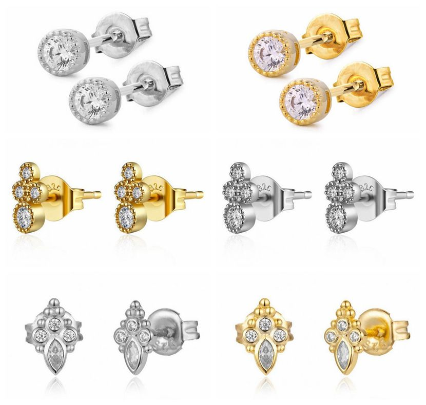Classic Round Cut Women Stud Earrings 925 Sterling Silver Stud Earrings Wedding Jewelry Nscd Earrings For Girl A30
