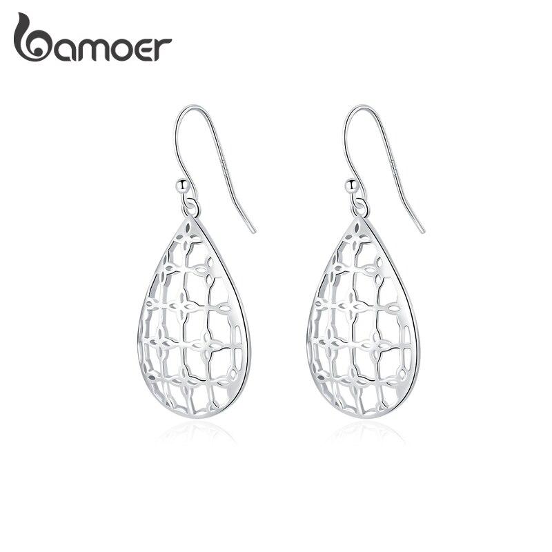 Bamoer Genuine 925 Sterling Silver Openwork Pattern Waterdrop Dangle Earrings For Women Silver Fine Jewelry  Girl Gift SCE863