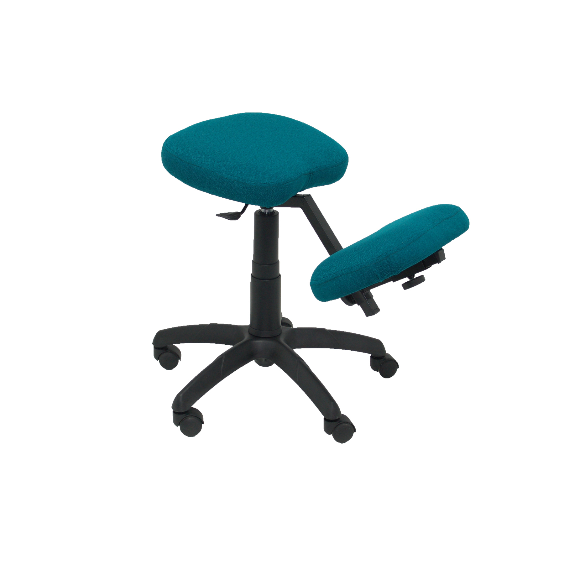 Office's Stool Ergonomic Swivel And Dimmable In High Altitude Up Seat Upholstered In BALI Tissue Dark Green Color (ROD