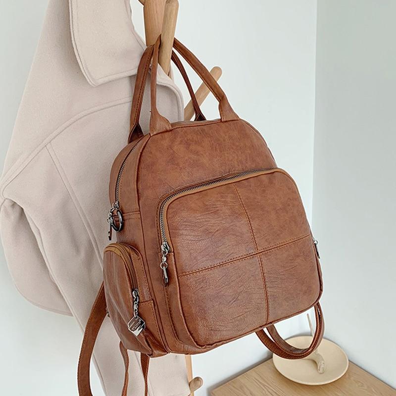 Fashion Leather Backpack Women 2020 Students School Bag For Girls Backpacks Multifunction Travel Bags Mochila Vintage Back Pack