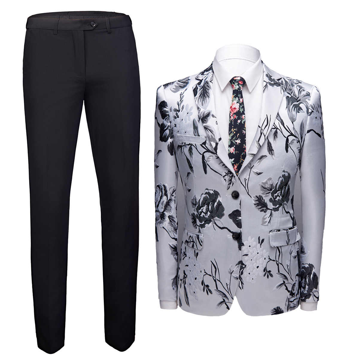 Terno Masculino Luxury 2 Piece Flower Jacket Pants Suits Slim Fit Business Dress Men Prom Performance Suit Clothing