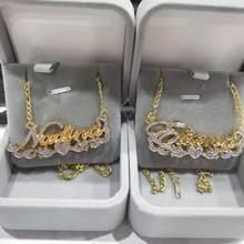 3d colar hip hop personalizado colares dupla cor nome personalizado colar de nome personalizado duplo banhado a ouro placa de identificação natal