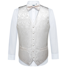 Handkerchief-Set Vests Waistcoat Mens Folral-Suit White Silk Barry.wang Bowtie Butterfly