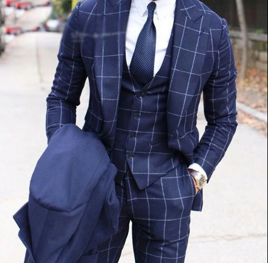 2020 Men's Blue Wool Three Piece Suits Checkered/Paild Peak Lapel Two Button Formal Tuxedos Groom Party Wide Lapel Suit