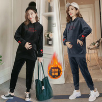 2018 Winter Set Style New Style Embroidery Even Hat Winter Brushed And Thick Casual Loose Fit Two Piece Set