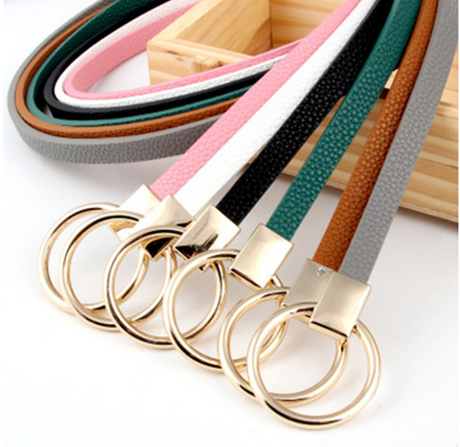 Fashion Ladies Roundness Casual Thin Belt Thin Belt Knotted Small Belt Ladies Round Buckle Belt