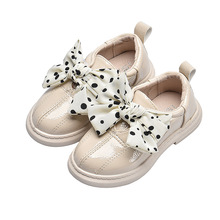 2019New Kid Shoes Childrens Student Leather Girls bow-knot Princess shoes Kids School Black Beige Red 2 3 4 5 6 7 8T