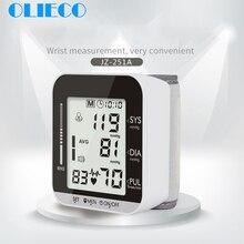 OLIECO elektrikli bilek kan basıncı monitörü ses yayını 2 kişi veri belleği büyük LCD ekran tonometre sfigmomanometre