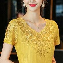 NEW Blouse Women Tops Plus Size Lace Shirt Short Sleeve Summer Blouses Elegant Slim Diamond