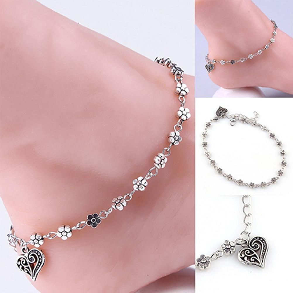 Women's Retro Heart Flowers Barefoot Sandal Beach Anklet Chain Foot Jewelry bracelet on the leg bracelet ankles jewelry