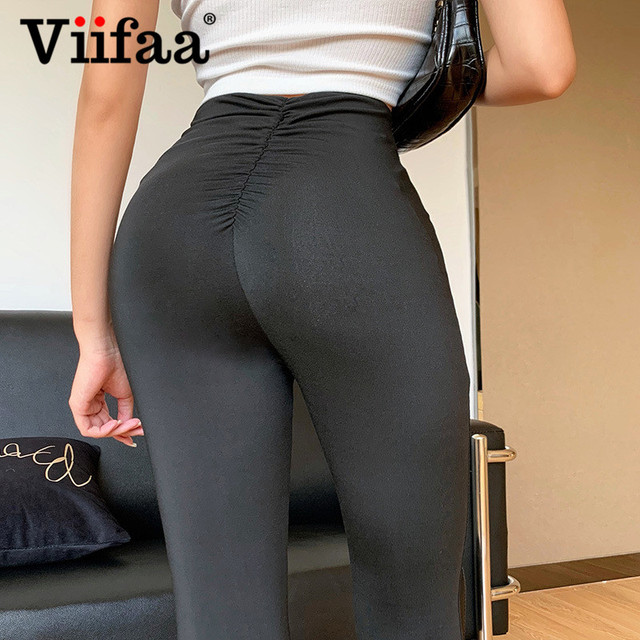 Viifaa Black Solid High Waist Skinny Flare Pants Women 2020 Ruched Back Slim Fit Femme Spring Stretchy Trousers 3