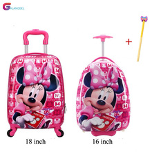 GALANODEL Suitcase with Wheel 16\18 Inch Child Scooter Suitcase Cute Carry on Trolley Luggage School Bag Rolling Luggage Cartoon