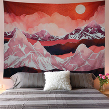 Nordic Mountain Tapestry Abstract Hippie Sunset Moon Tapestry Wall Hanging Forest Night Sky Landscape Dorm Wall Cloth Tapestries sunset forest horse pattern wall art tapestry
