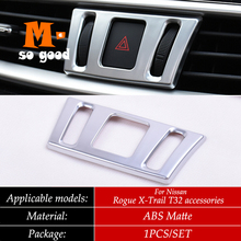 ABS Matte 2014-2018 for nissan Rogue x-trail XTrail t32 Car Dashboard Air Condition Switch Adjustment AC Vent Trims Cover car dashboard mat cover pad sun shade instrument covers protective carpet for nissan rogue x trail xtrail x trail t32 2014 2018